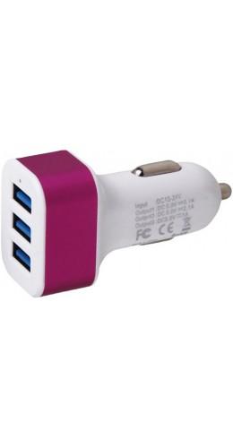 Adaptateur triple USB allume-cigare rose