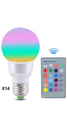 Ampoule LED 16 couleurs pilotée par radio E14