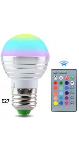 Ampoule LED 16 couleurs pilotée par radio E27