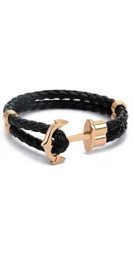 Bracelet ancre corde cuir noir
