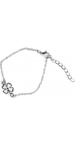 Bracelet argenté avec trèfle à quatre feuilles longueur 22cm