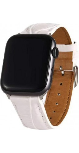Bracelet crocodile blanc - Apple Watch 38mm / 40mm