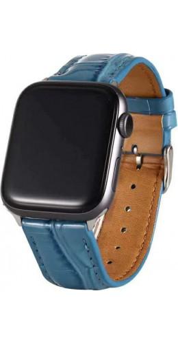 Bracelet crocodile bleu - Apple Watch 38mm / 40mm