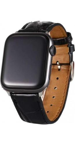 Bracelet crocodile noir - Apple Watch 38mm / 40mm
