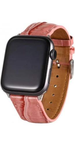Bracelet crocodile rose - Apple Watch 38mm / 40mm