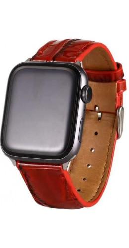 Bracelet crocodile rouge - Apple Watch 38mm / 40mm