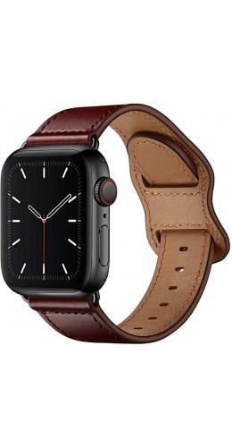 Bracelet cuir  bordeau - Apple Watch 38mm / 40mm