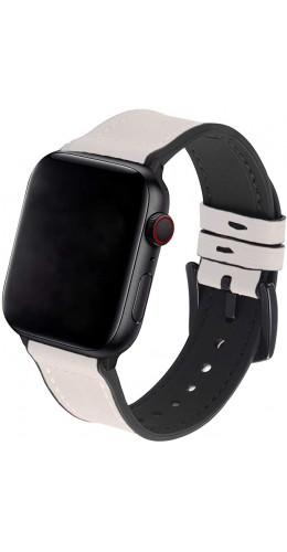 Bracelet cuir et silicone blanc cassé - Apple Watch 38mm / 40mm