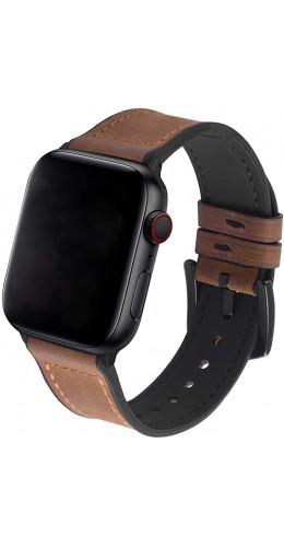 Bracelet cuir et silicone brun clair - Apple Watch 38mm / 40mm