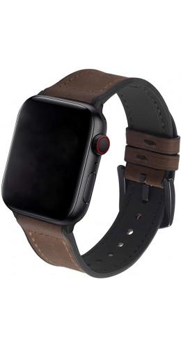 Bracelet cuir et silicone brun foncé - Apple Watch 38mm / 40mm