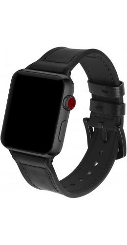 Bracelet cuir et silicone noir - Apple Watch 38mm / 40mm