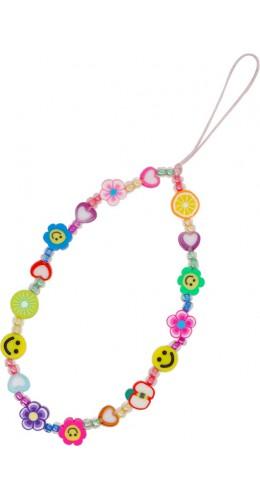 Bracelet fleurs et emojies perles strap