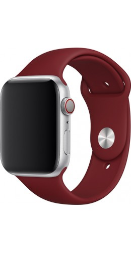 Bracelet sport en silicone rouge bordeau - Apple Watch 42mm / 44mm