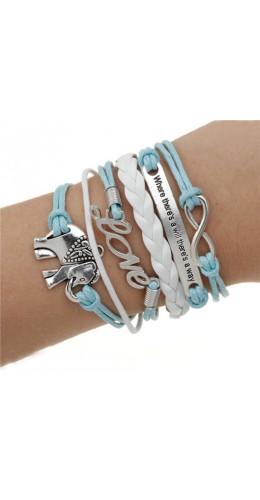 Bracelet sweet elephant bleu clair