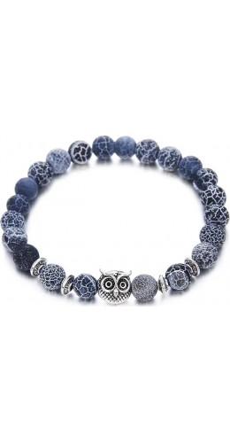 Bracelet tête hiboux en pierre semi-précieuse lave bleu, météorite, yoga