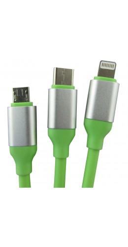 Câble 3 en 1 Lightning/Micro USB/Type-C vert