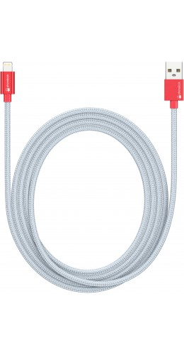 Câble Lightning 1.5 m iPhone vers USB - Nylon argent PhoneLook