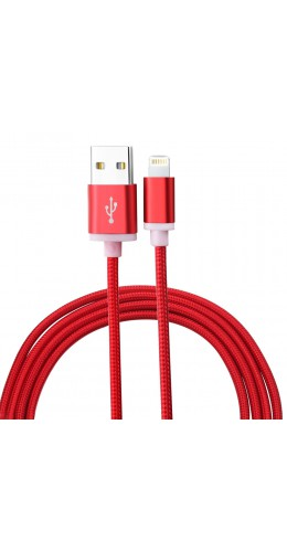 Câble Lightning iPhone Nylon metal 1.5m rouge