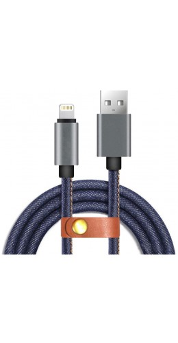 Câble Lightning iPhone vers USB jean denim