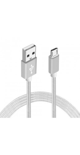 Câble Micro USB Nylon metal argent