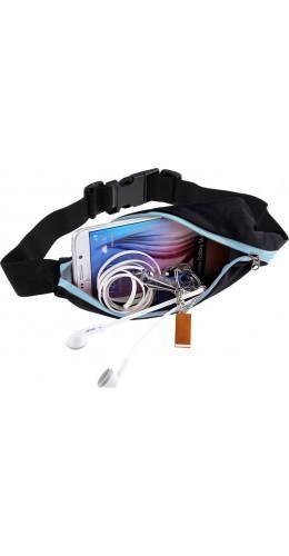 Ceinture de sport avec 2 poches extensibles pour téléphone + accessoires, jogging, vélo - Bleu clair