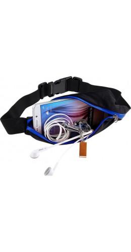 Ceinture de sport avec 2 poches extensibles pour téléphone + accessoires, jogging, vélo - Bleu foncé