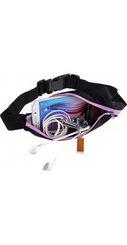 Ceinture de sport avec 2 poches extensibles pour téléphone + accessoires, jogging, vélo - Rose