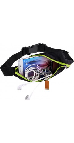 Ceinture de sport avec 2 poches extensibles pour téléphone + accessoires, jogging, vélo - Vert