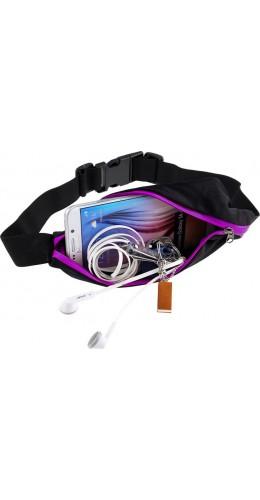 Ceinture de sport avec 2 poches extensibles pour téléphone + accessoires, jogging, vélo - Violet