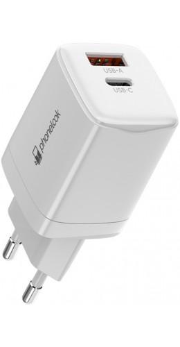 Chargeur secteur 20W USB et USB-C (Power Delivery) PhoneLook blanc