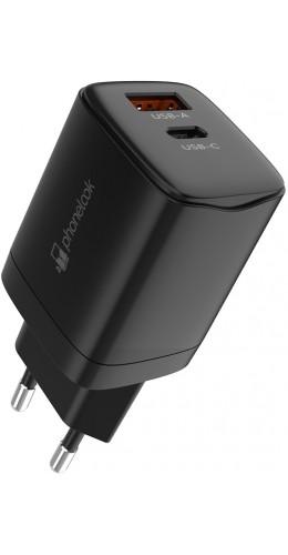 Chargeur secteur 20W USB et USB-C (Power Delivery) PhoneLook noir