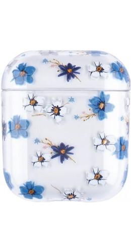 Coque AirPods 1 / 2 - Plastique transparent fleurs bleues