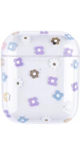 Coque AirPods 1 / 2 - Plastique transparent fleurs violettes