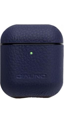 Coque AirPods 1 / 2 - Qialino cuir véritable bleu