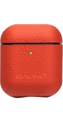 Coque AirPods 1 / 2 - Qialino cuir véritable orange