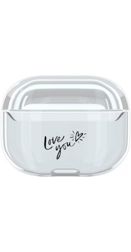 Coque AirPods Pro - Plastique transparent Black Love You