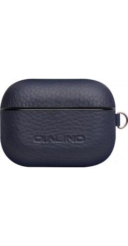 Coque AirPods Pro - Qialino cuir véritable bleu