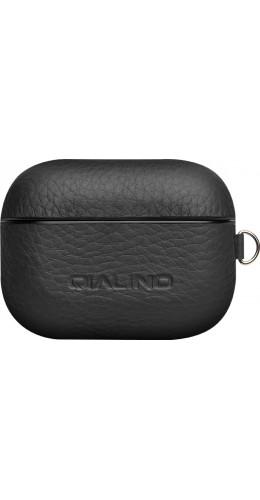 Coque AirPods Pro - Qialino cuir véritable noir
