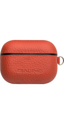 Coque AirPods Pro - Qialino cuir véritable orange