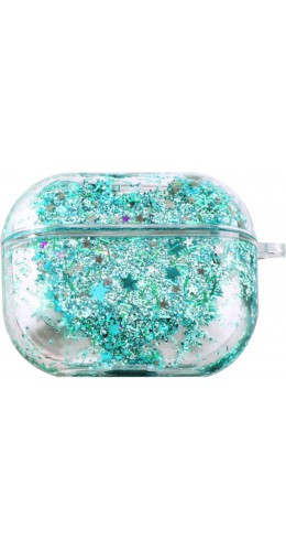 Coque AirPods Pro - Water Stars & Strass turquoise