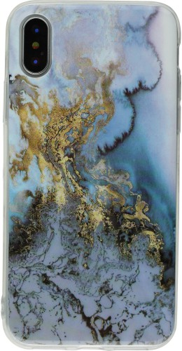 Coque iPhone X - Geometric Marble blue