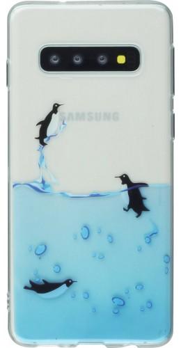 Coque Samsung Galaxy S10 - Clear Logo Pingouins