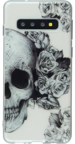 Coque Samsung Galaxy S10 - Clear crâne roses