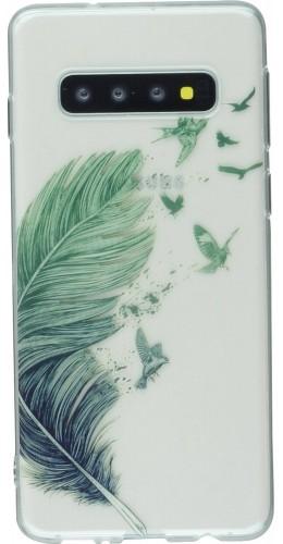 Coque Samsung Galaxy S10 - Gel plume oiseaux
