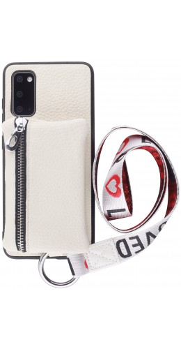 Coque Samsung Galaxy S20 - Wallet Poche avec cordon  blanc