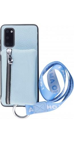 Coque Samsung Galaxy S20 - Wallet Poche avec cordon  bleu