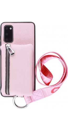 Coque Samsung Galaxy S20 - Wallet Poche avec cordon  rose