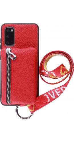 Coque Samsung Galaxy S20 - Wallet Poche avec cordon  rouge
