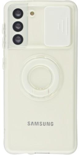Coque Samsung Galaxy S21 5G - Caméra clapet avec anneau blanc