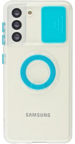 Coque Samsung Galaxy S21 5G - Caméra clapet avec anneau bleu